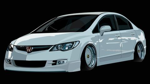 Honda civic Fd6 car illustration ai. drawing