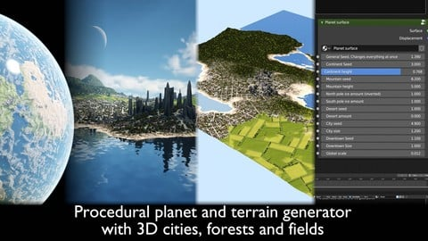 Procedural Planet And Terrain Generator With 3d Cities, Forests And Fields
