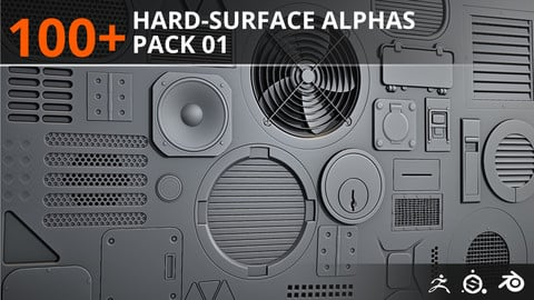 100+ Hard-Surface Alphas - Pack 01