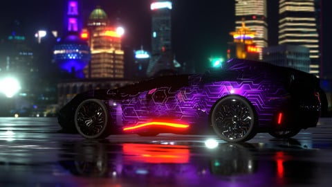 Avax - Cyberpunk car - 5k polygons - TWO  4K textures included