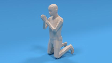 Low Poly Kid Praying