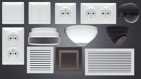 Electric socket and light switch and other props 3d models