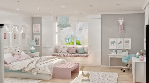 girls bedroom 3d model