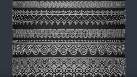 9 Trim Lace Multi Brush for Zbrush