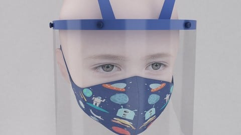 Medical face shield and mask for kids