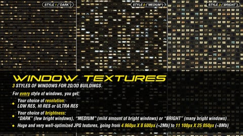 Window textures for 2D or 3D buildings