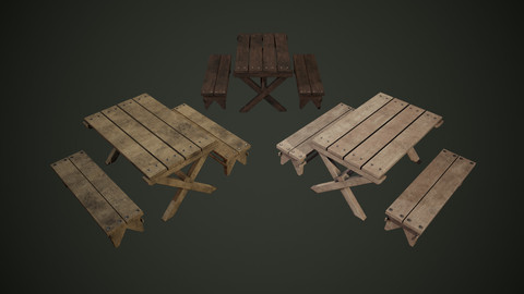 3 Color Benches Lowpoly PBR