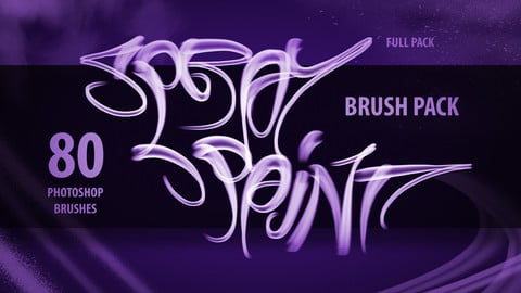 Full Spray Paint Brush Pack - Photoshop (80 Brushes)