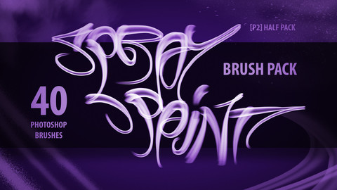 [P2] Half Spray Paint Brush Pack - Photoshop (40 Brushes)