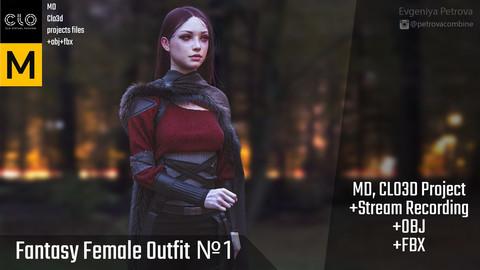 Marvelous Designer,Clo3d project. Female fantasy outfit №1