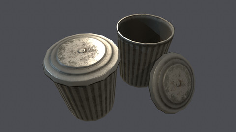 Dirty Bin Low-poly PBR (Game) FREE