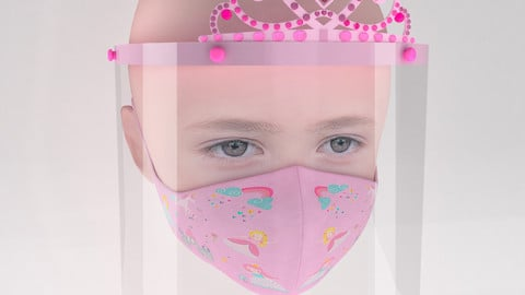Medical face shield with crown and mask for kids 3D model