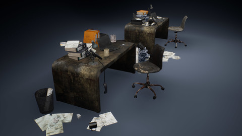 Dirty office accessories Low-poly 3D model