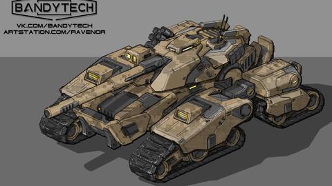Futuristic tank concept-art