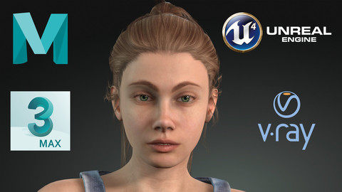 Game Ready PBR Realistic Human Girl Character Emily VR - AR - low-poly
