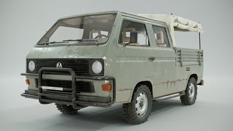 PBR 3D model - Volkswagen T3  -  army car project. High poly, 32 UDIMs. Dirty and clean textures.