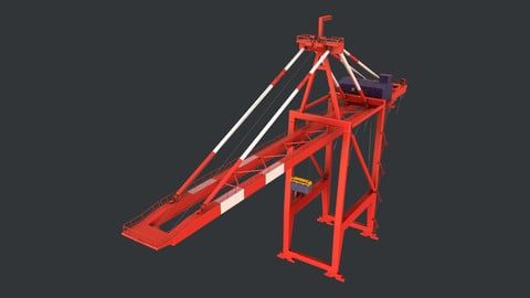 PBR Quayside Container Crane Version 1 - Red White