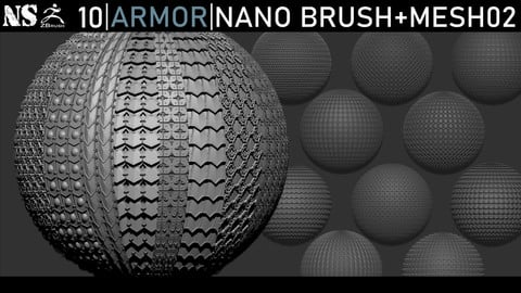 Zbrush - Armor Nano Brush + Meshes Part 02