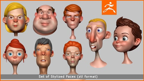 3D Stylized Cartoon Faces Set (1) Zbrush Tools Files