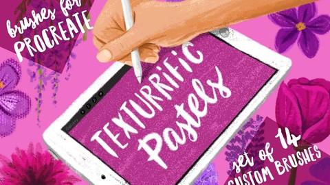 Sale 10% : Texturrific Pastels for Procreate : Brush pack