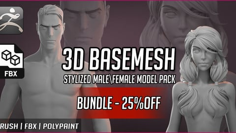 Basemesh Stylized Male and Female Pack (BUNDLE -25% OFF)