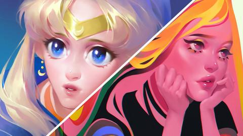 Digital illustration workflow: Sailor Moon redraw / Bored