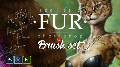 Realistic FUR Brush Set for Photoshop, PS Elements and Adobe Fresco