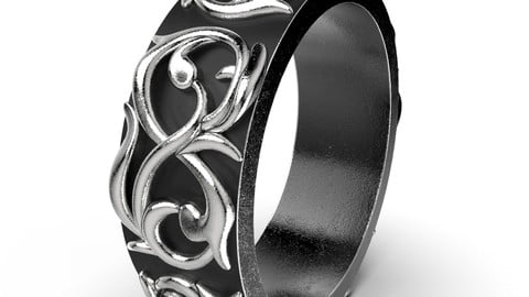 Pattern Ring Band Gothic Badass Bikers Men Ring Model-ETS1 3D print model