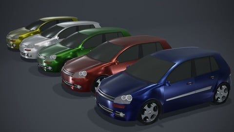 Hatchback Car Generic Low-poly 3D model