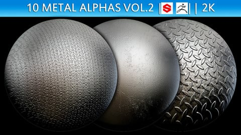 10 Metal Alphas Vol.2 (ZBrush, Substance, 2K)