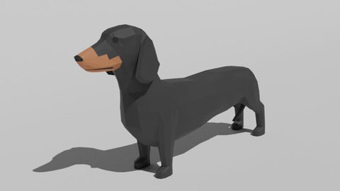 Low Poly Cartoon Dachshund Dog