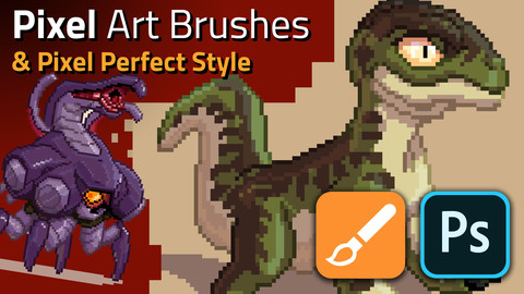 Pixel Art Brushes & Style for Photoshop