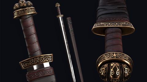 🟥Medieval Carolingian Sword [Lowpoly]