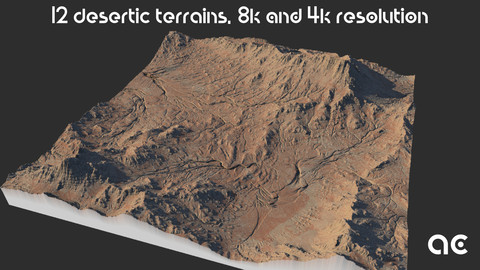 Desertic Terrains Collection | 12 Terrains at 8k resolution, Height map+Texture+Mesh