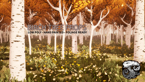 Birch Tree Environment Tree Props - FBX, OBJ and UE4 Blueprints/Materials