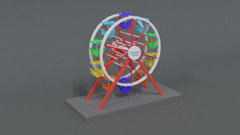 Low Poly Cartoon Luna Park Ferris Wheel