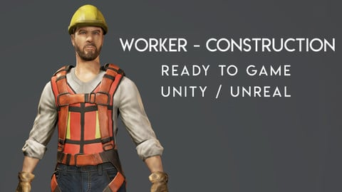 Worker - Construction - Ready to Game -  Low Poly - 3D Model