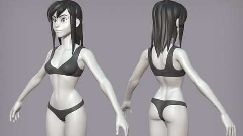 Cartoon female character Lora base mesh