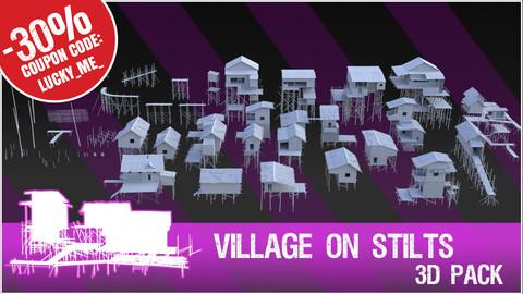 3D Pack: Village on stilts