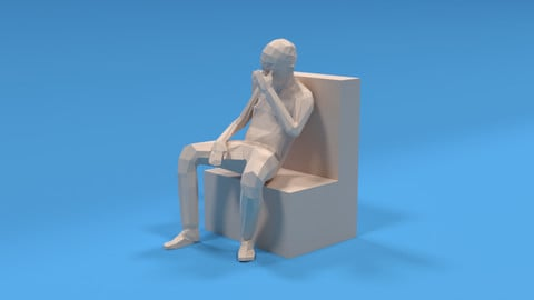 Low Poly Kid Sitting Disappointed