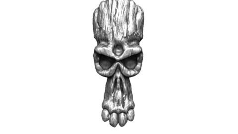 Wood Skull Mask 3D Modeling