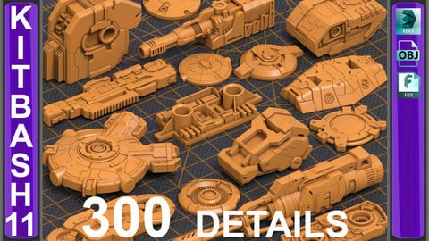 Mega Pack Sci-Fi Hard Surface KITBASH 300 DETAILS