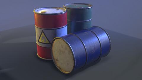 Old Rusty Metal Barrel (Drum container) (3 colors, obj, fbx)