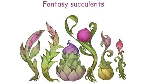 Fantasy  watercolor succulents
