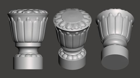 WoodCarving Finial - 3d model for CNC - FinialCFC05
