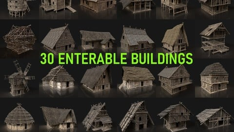 AAA MEDIEVAL SETTLEMENT VIKING HOUSES BUILDER PACK COLLECTION