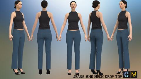 Jeans And Neck Crop Top,Marvelous designer, Clo3d