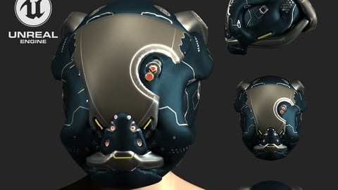 SCIFI HELMET 06 - 3D Asset Game Model PBR Mid-poly 3D model 3D model