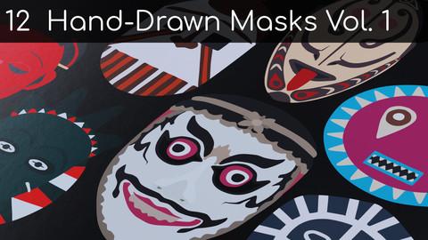 12 Unique Vector Hand-drawn Masks Vol. 1