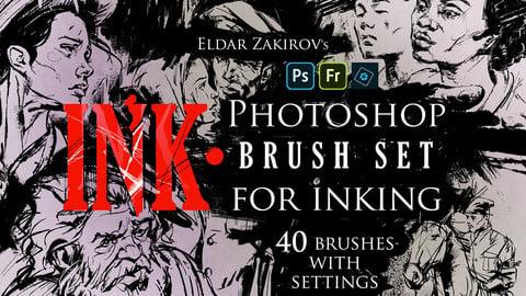 INK. 40 Photoshop Brushes for Inking + Photoshop Action for 100% black.